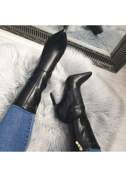 Čierne koženkové kotničky Natasha