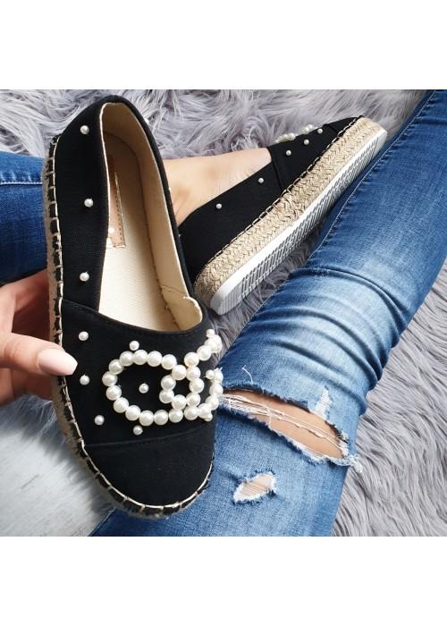 Čierne espadrilky s perličkami Siena