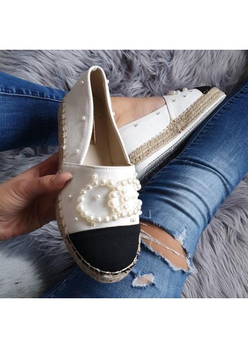 Biele espadrilky s perličkami Siena