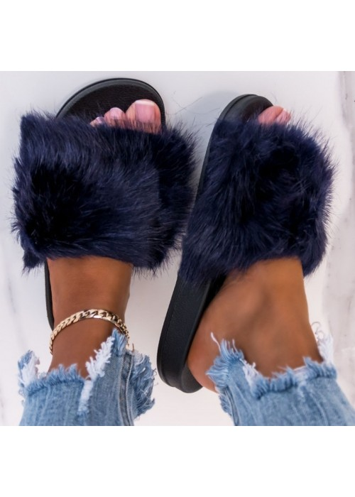 Tmavo modré chlpaté papuče Furra