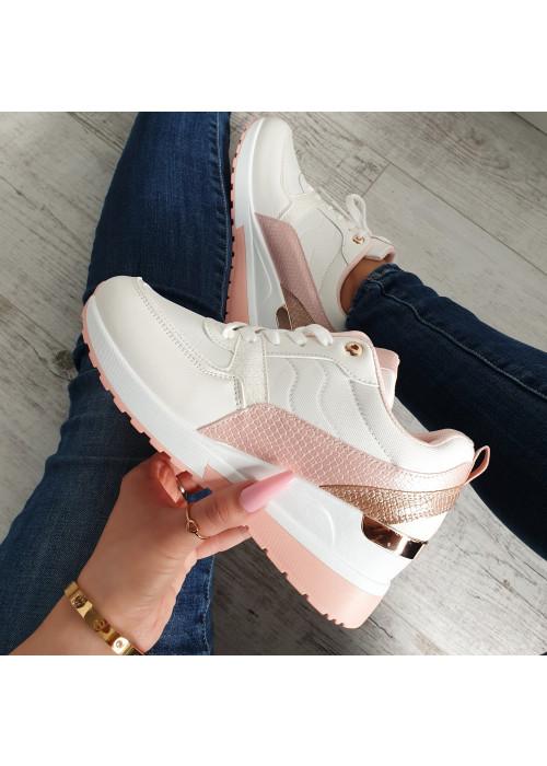 Botasky na platforme Dara bielo ružové