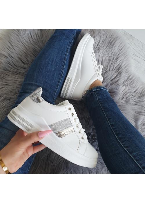 Štýlové botasky Carlie bielo strieborné