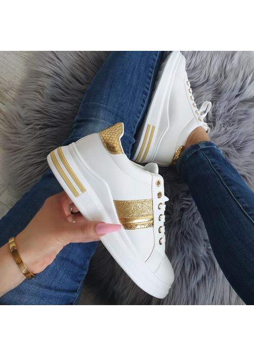 Štýlové botasky Carlie bielo zlaté