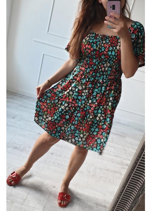 Kvetinové šaty Melinda čierne