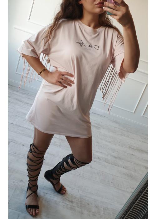 Tričkové šaty so strapcami OLV ružové