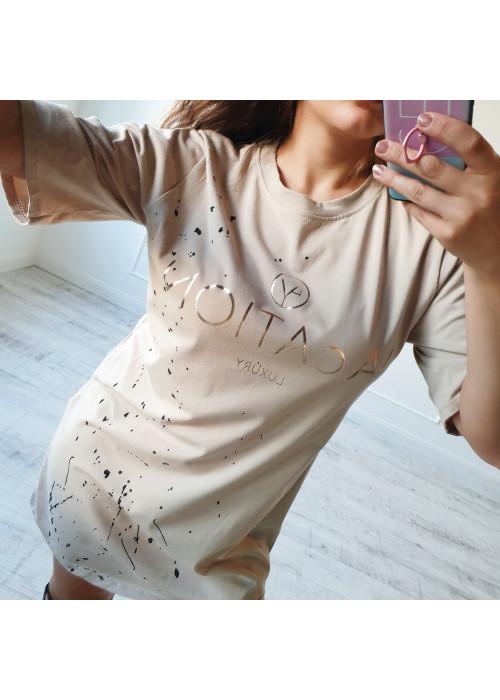 Tričkové šaty Vacation béžové