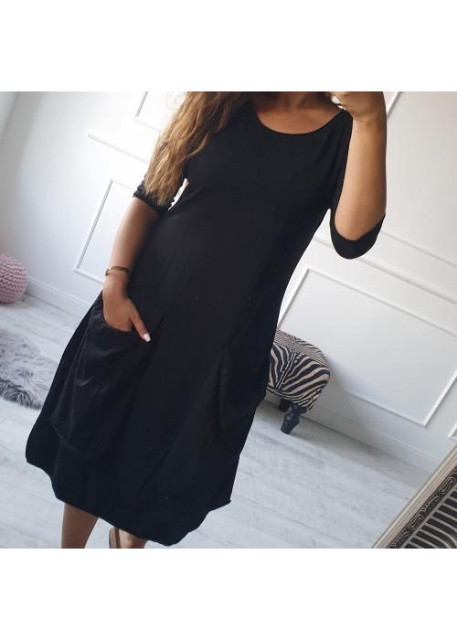Teplákové oversize šaty čierne
