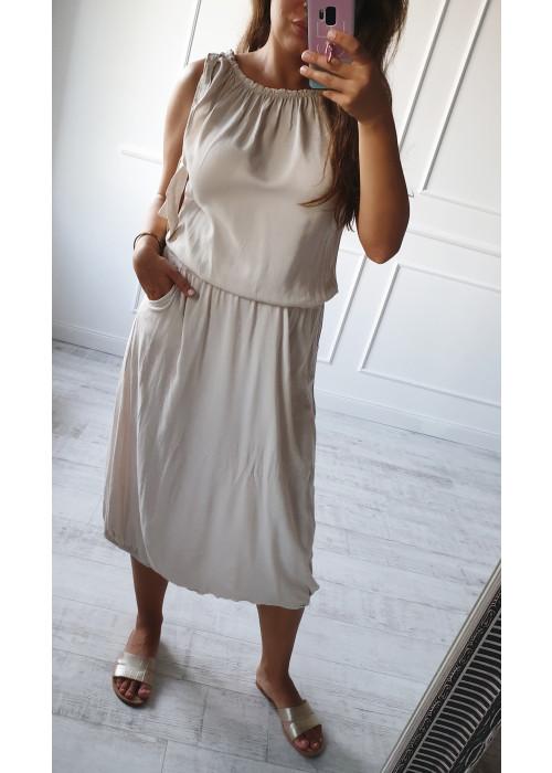 Trendové dlhé šaty Simi béžové