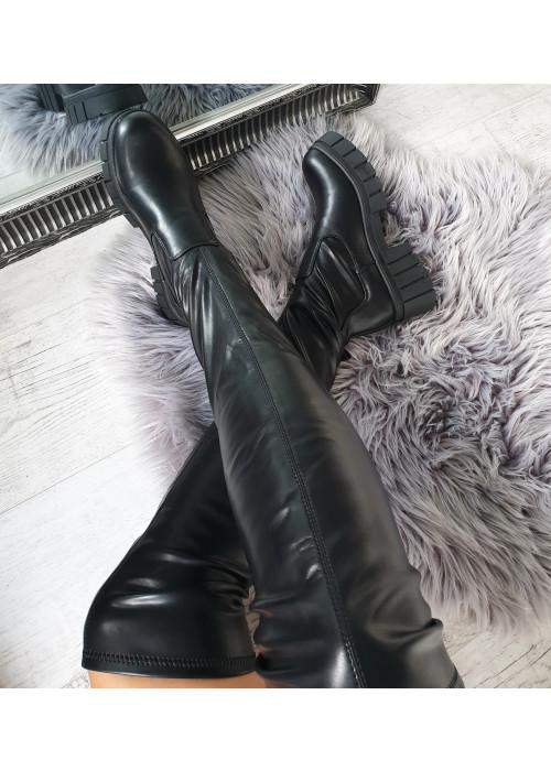 Čierne čižmy nad koleno Patricia