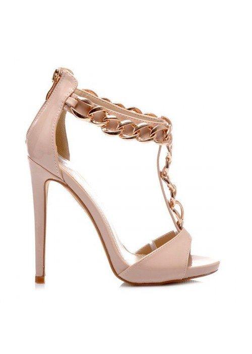 sandále so zlatou reťazou Zanotti béžové