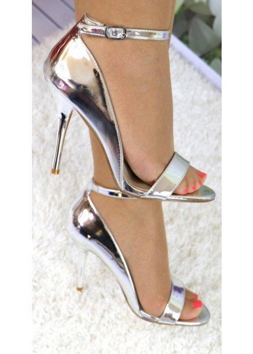 Strieborné zrkadlové sandále Diva
