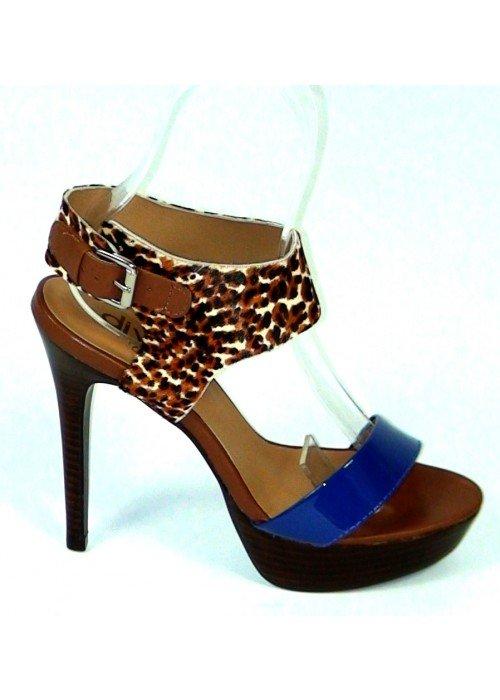 Kožené sandále Leopardo modré
