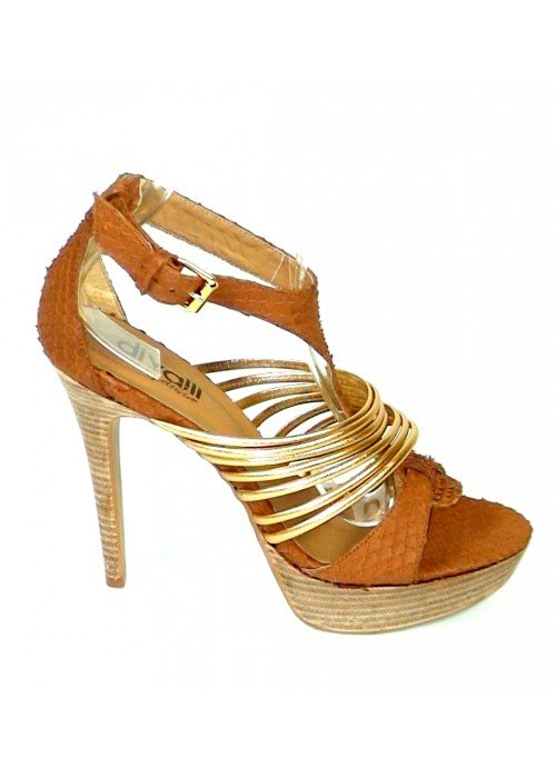 Kožené sandále Tilapia hnedo zlaté
