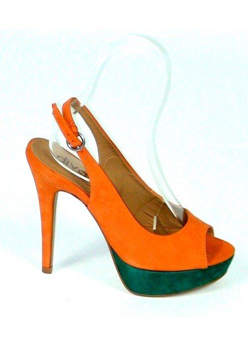 Kožené sandále Laranja oranžové