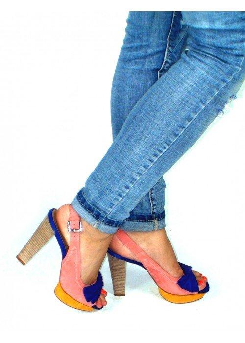 Kožené sandále s mašličkou farebné