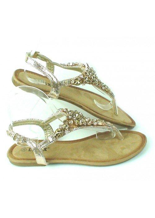 Zlaté sandálky s kamienkami Lima