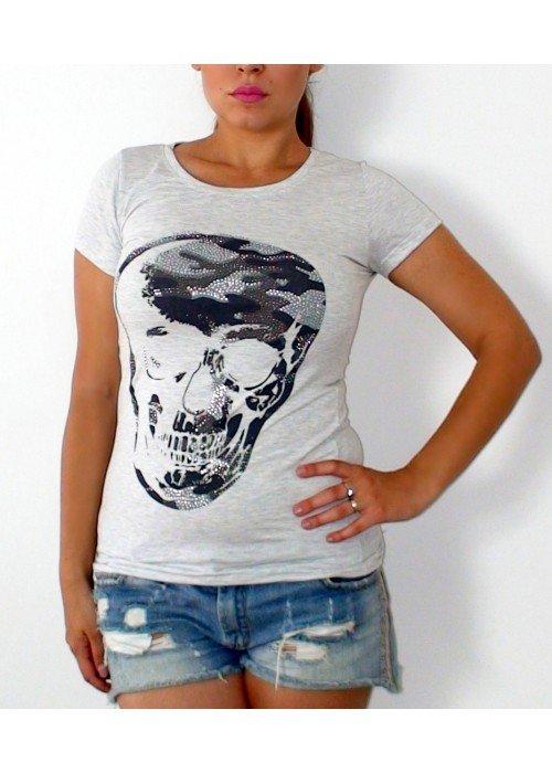 Tričko s kamienkami Skull sivé
