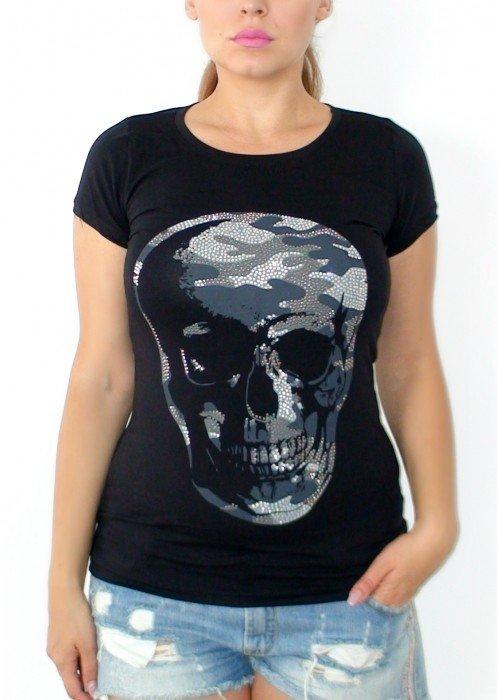 Tričko s kamienkami Skull čierne