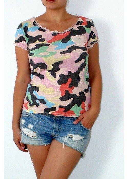 Army tričko s vreckom ružové