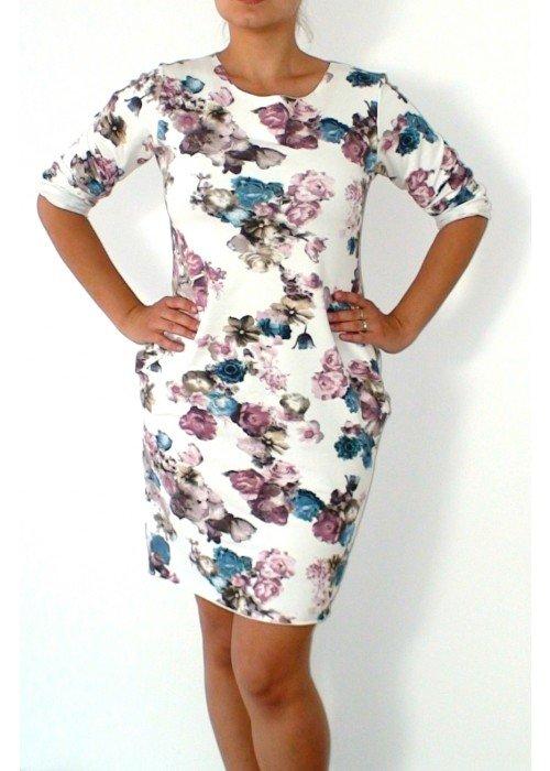 Teplákové šaty s kvetinovou potlačou