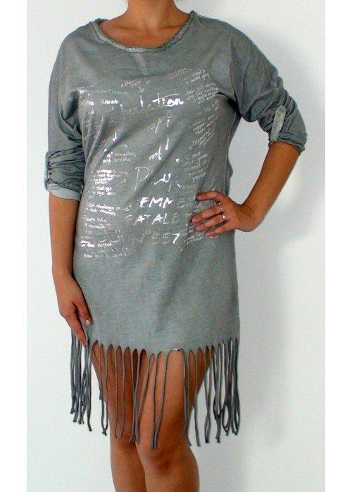 Štýlové tuniko šaty so strapcami sivé