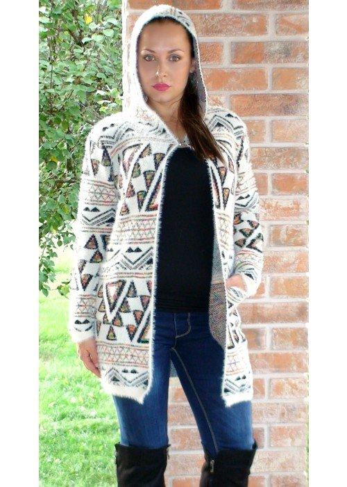 Trendový kabátový svetrík Estelle krémový