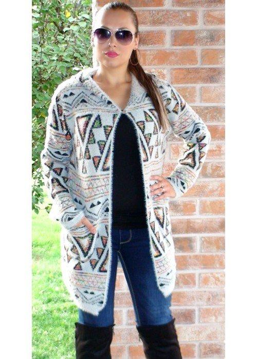 Trendový kabátový svetrík Estelle sivý