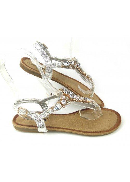 Strieborné sandálky s kamienkami Lima