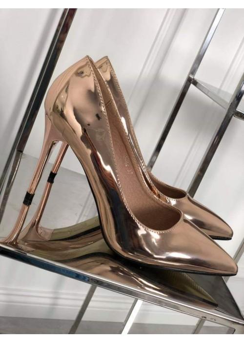 Zrkadlové lodičky Emma rose gold