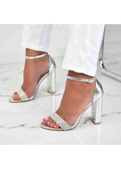 Strieborné sandále s kamienkami Ella