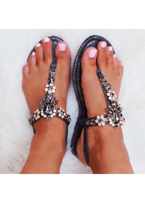 Čierne sandále s kamienkani Alicia
