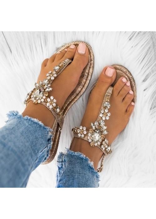 Zlaté sandále s kamienkani Alicia