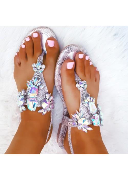 Strieborné sandále s kamienkami Stella