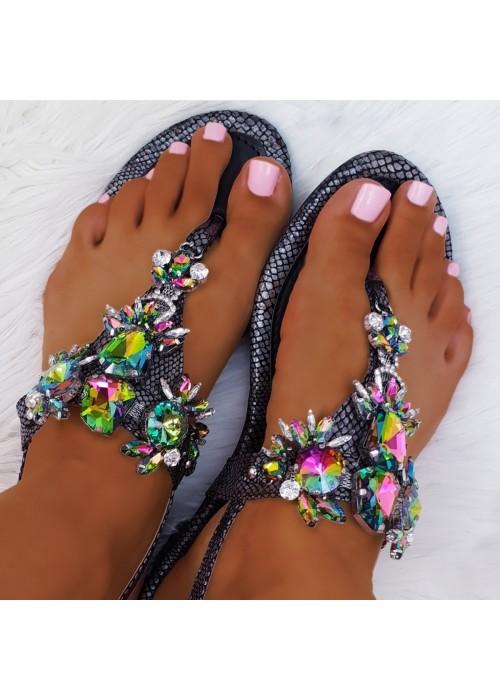 Čierne sandále s kamienkami Stella