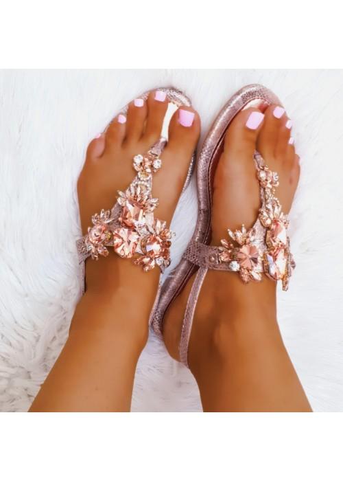 Rose gold sandále s kamienkami Stella