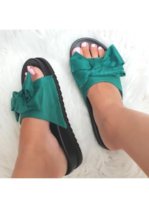 Zelené šľapky s mašľou
