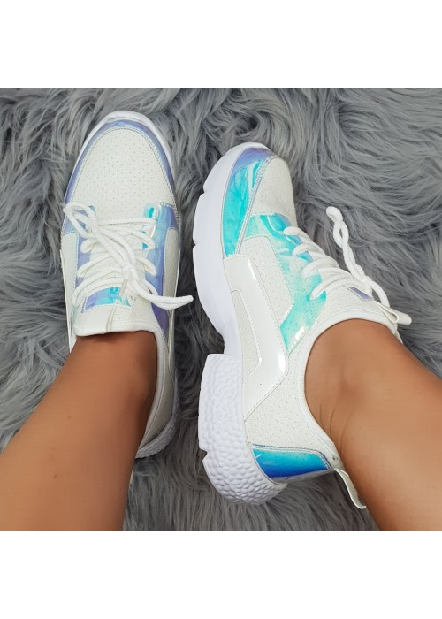 štýlové tenisky Sandy biele