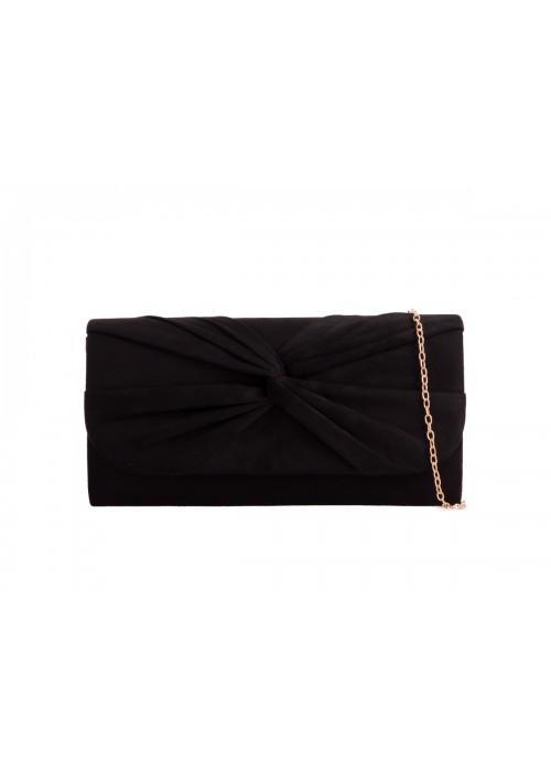 Semišová listová kabelka Knot čierna
