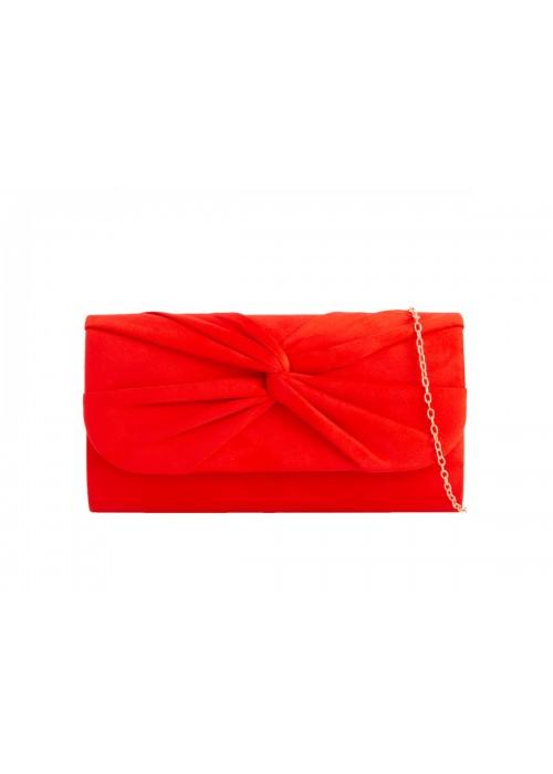 Semišová listová kabelka Knot červená