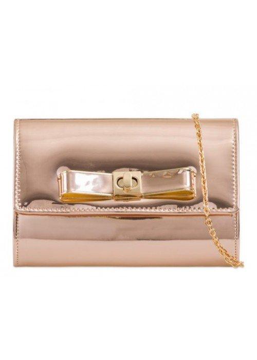 Zrkadlová kabelka s mašličkou rose gold
