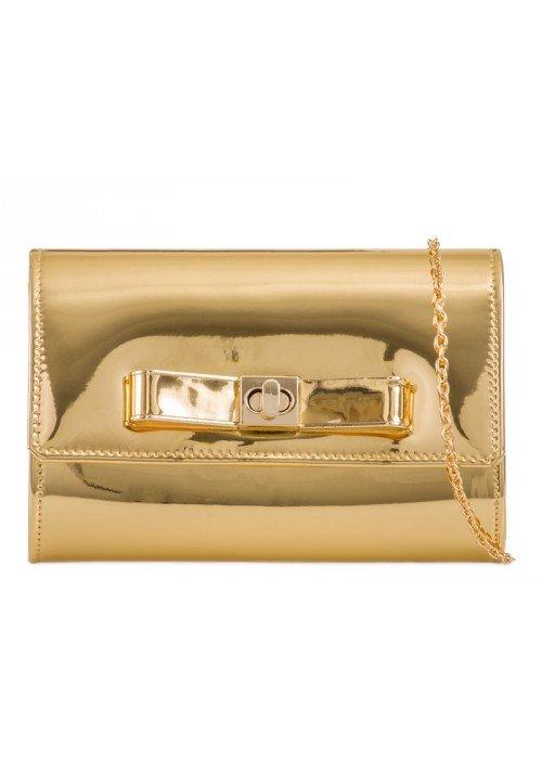 Zlatá zrkadlová kabelka s mašličkou