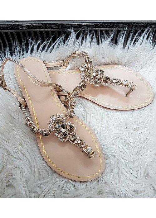 Sandálky s kamienkami Lady zlaté