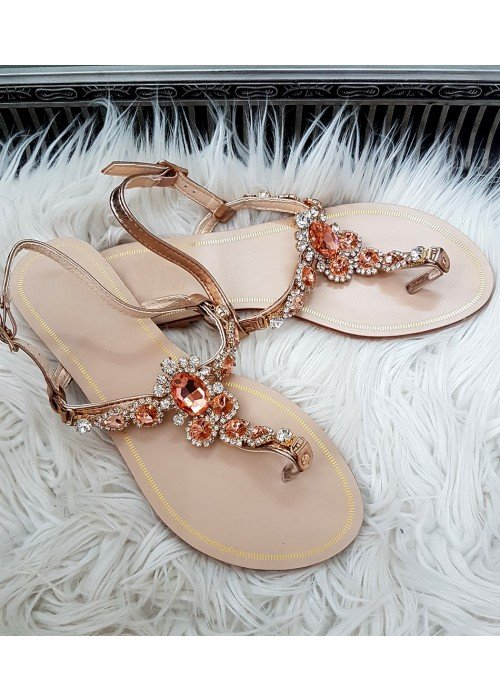 Sandálky s kamienkami Lady rose gold