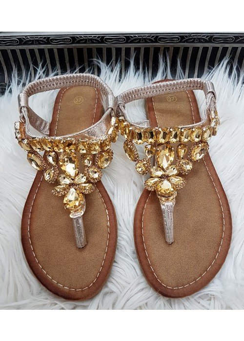 Zlaté sandálky s kamienkami Ellie