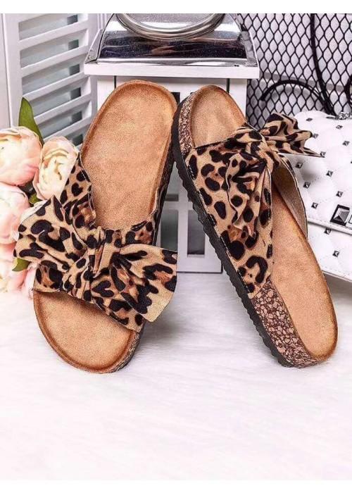 Leopardie šľapky s mašľou Meggie