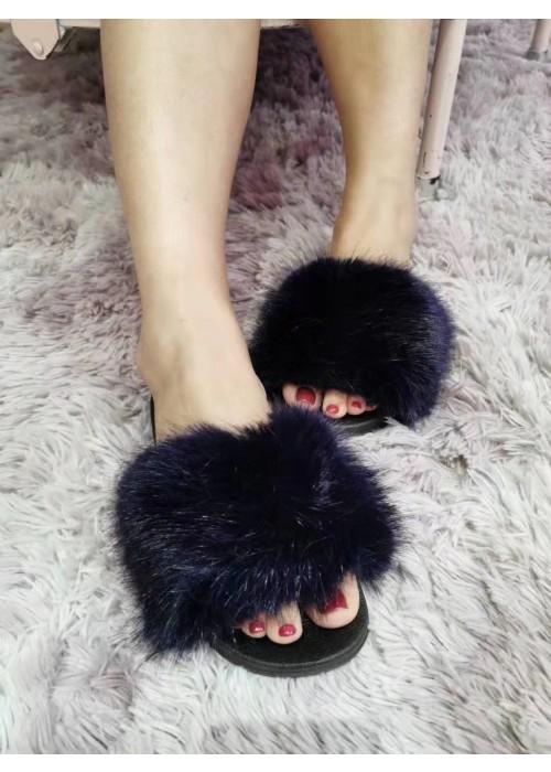 Čierne chlpaté papuče Furra