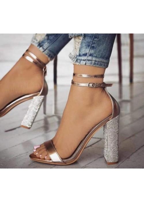 Ružovo zlaté sandále s kamienkami Alla