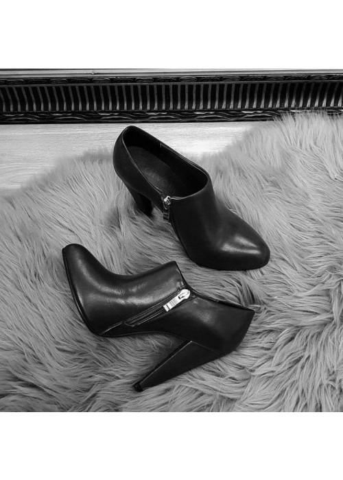 Kožené členkové topánky Ria čierne