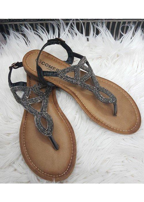 Sandálky s kamienkami Sia čierne