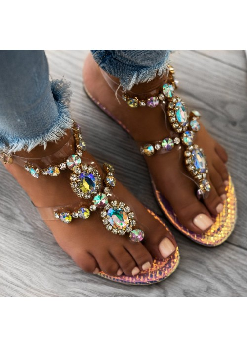 Zlaté sandále s kamienkami Maura